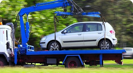 car on towing truck